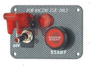 Carbon Fiber Racing Ignition Switch Panel, Red Illuminated Engine Start Button