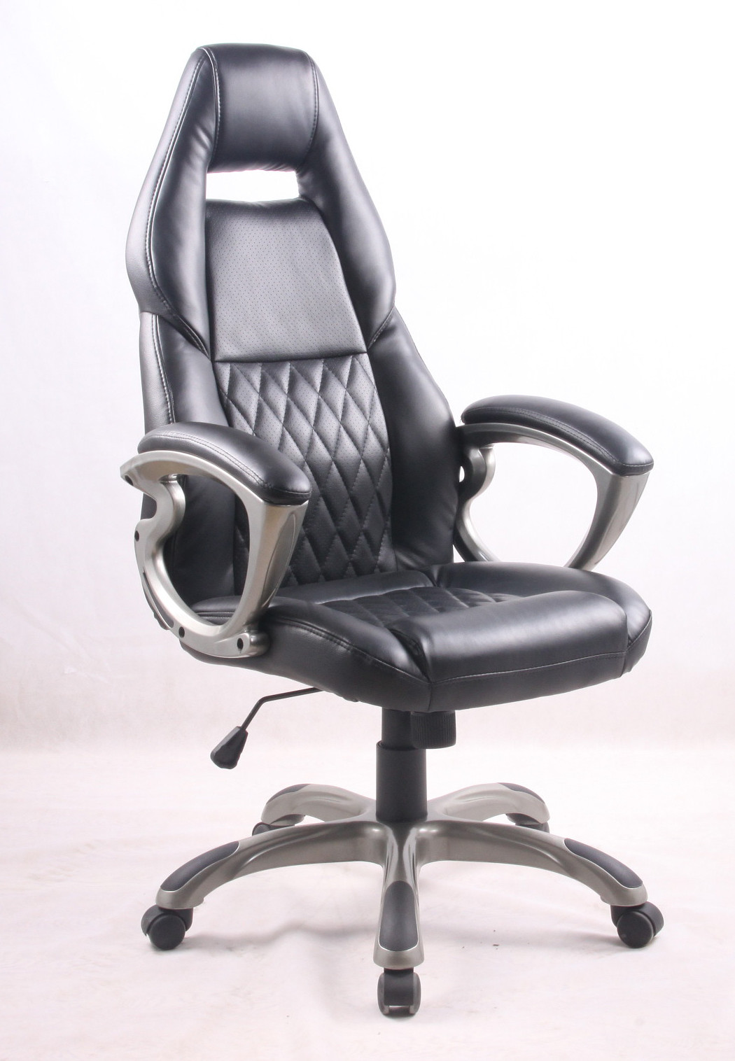 Black PU Porsche Racing Office Chair with Painting Armrest Executive Leather Office Chair