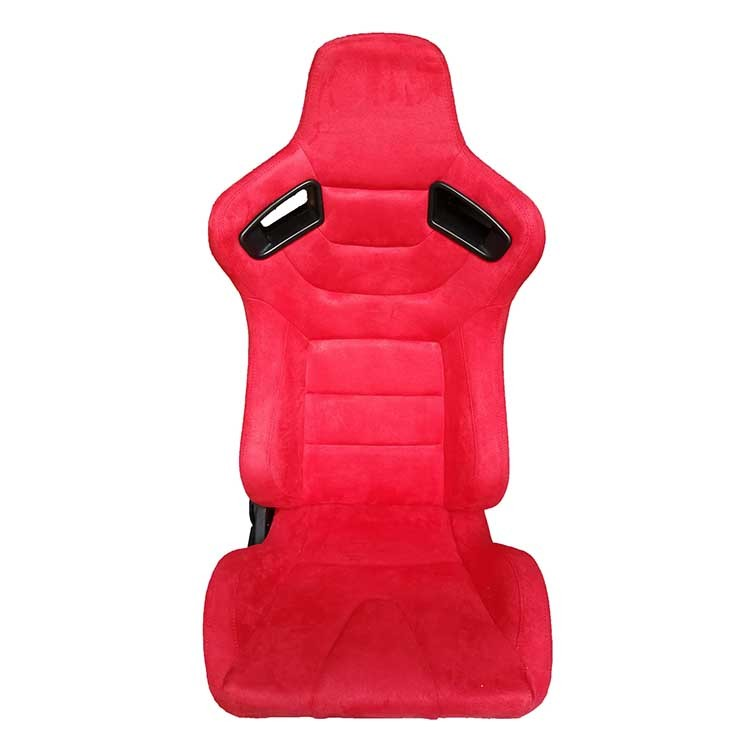 Red Stitching Sport Racing Seats Suede Fabric With Slider Right / Left Adjustment