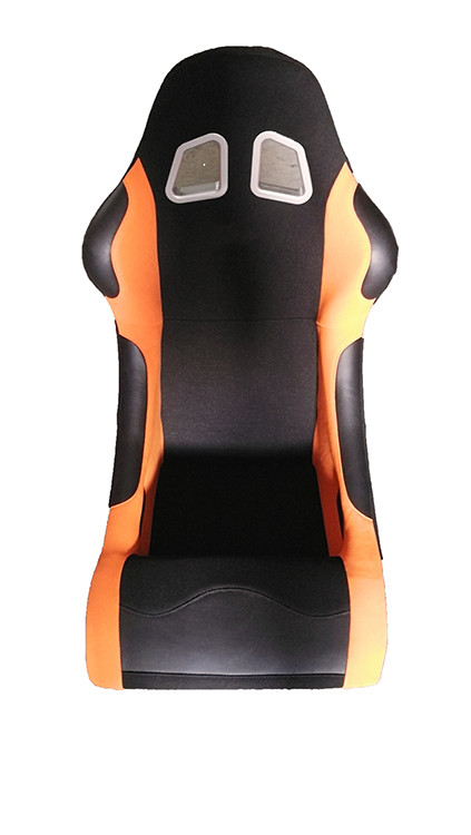 Suede Material Black And Orange Racing Seats , Cars Bucket Seats Double Slider